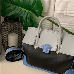 Blue black and gray Versace purse